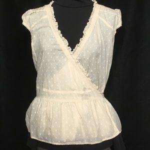 Ambiance Cotton Wrap Med Lace Tucks Peplum Ruffles